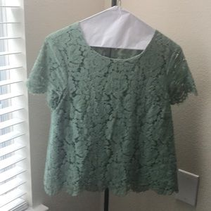 MINT GREEN TOP WITH LACE DETAIL